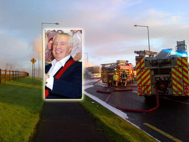 Bus driver Brian McLaughlin (inset) has been hailed as a hero; firefighters battle the blaze on the school bus near Letterkenny, Co Donegal