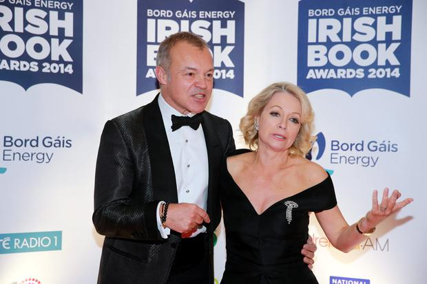 Graham Norton and Cathy Kelly at the Bord Gais Energy Irish Book Awards at the Double Tree by Hilton Hotel in Dublin. Picture: Arthur Carron