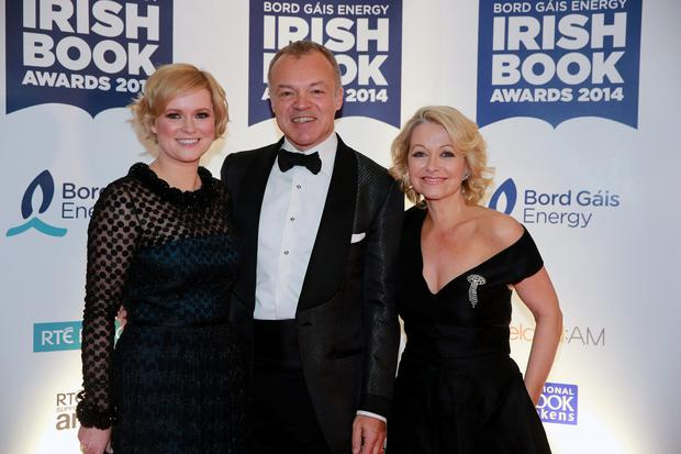 Graham Norton with Cecelia Ahern and Cathy Kelly at the 2014 Bord Gais Energy Irish Book Awards at the Double Tree by Hilton Hotel in Dublin. Picture:Arthur Carron