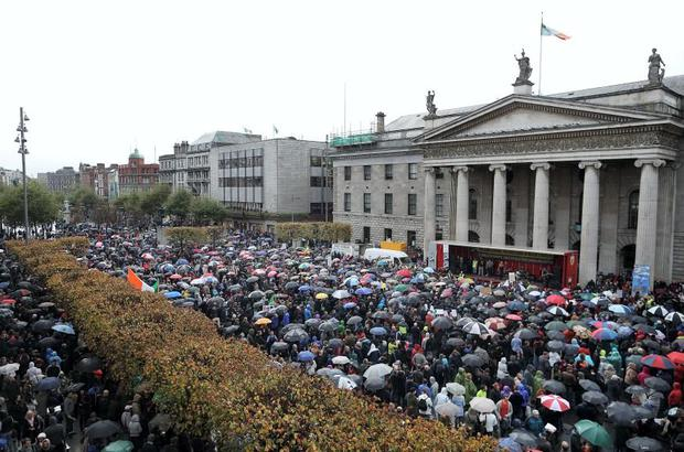 Huge crowds take to the streets of Dublin and all around Ireland on a national day of protest against the water charges. Picture shows protesters on the streets of Dublin