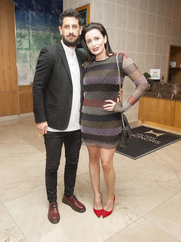 Paul Galvin and Louise Duffy, during the ninth annual Bord Gais Energy Irish Book Awards 2014 at the The Double Tree by Hilton Hotel, Dublin. Photo: Gareth Chaney Collins