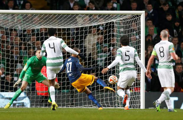 FC Salzburg's Alan scores his first goal during the UEFA Europa League match at Celtic Park, Glasgow. PRESS ASSOCIATION Photo. Picture date: Thursday November 27, 2014. See PA story SOCCER Celtic. Photo credit should read Danny Lawson/PA Wire.