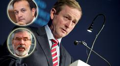 Enda Kenny and (inset top) Leo Varadkar and (bottom) Gerry Adams