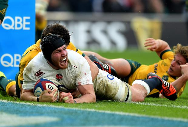 Ben Morgan celebrates after crashing over the line to score England's opening try in their autumn international win over Australia at Twickenham. Photo: Paul Gilham/Getty Images
