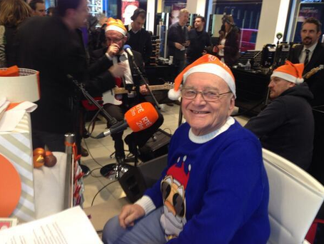 Larry Gogan pictured at RTE 2FM Christmas Broadcast in 2013
