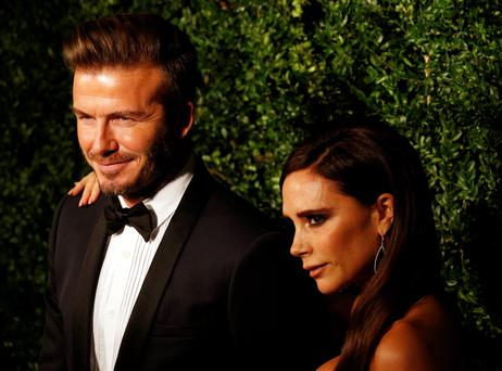 David and Victoria Beckham arrive at the 60th London Evening Standard Theatre Awards at the London Palladium in central London. PRESS ASSOCIATION Photo. Picture date: Sunday November 30, 2014. Photo credit should read: Jonathan Brady/PA Wire