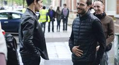 Colin Morgan and Jamie Dornan on the set of The Fall
