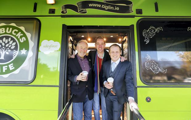 Pictured at the launch of Tiglin Rehab Centre 'No Bucks Bus' was David Dempsey, Executive Director and Senior Vice President of Salesforce, Ryan Tubridy, and Phil Thompson, CEO of Tiglin Rehab Centre. Picture Conor McCabe Photography