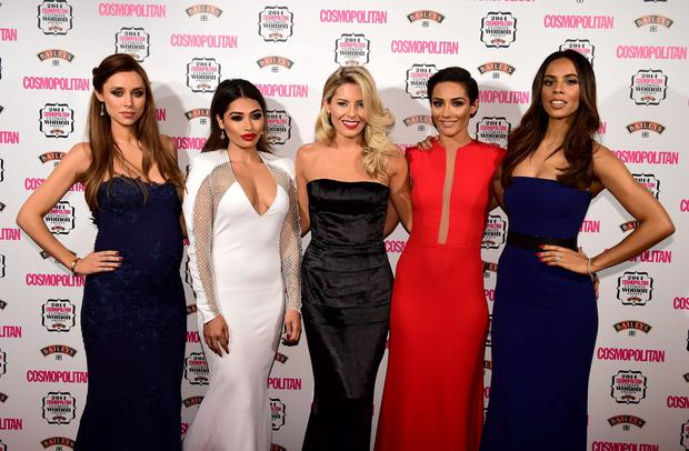 (left to right) Una Foden, Vanessa White, Mollie King, Frankie Bridge and Rochelle Humes, of the Saturdays, attend the Cosmopolitan Ultimate Women of the Year Awards at One Mayfair in London.Picture: Ian West/PA Wire