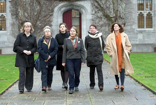 Adrienne Gorman, Sylvie Lannegrand, Roisin Healey, Micheline Sheehy Skeffington, Margaret Hodgins and Elizabeth Tilley at NUIG. Photo: Andrew Downes.