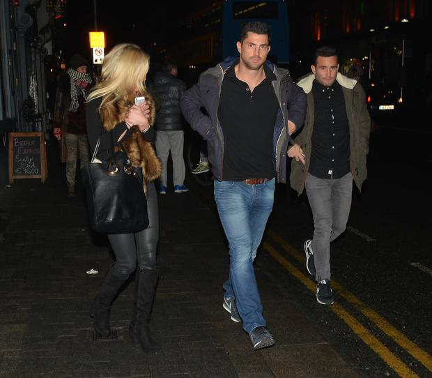 (L to R) Jess Redden, Rob Kearney and Dave Kearney arrive to see Hozier perform at The Olympia