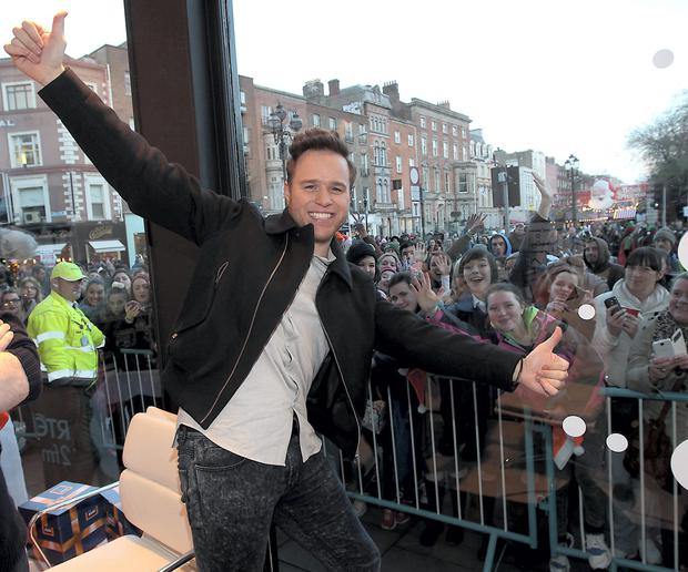 Olly Murs at The Rte 2fm Radiothon in Stephens Green Dublin in aid of the St Vincent de Paul Aldi Give a Gift Campaign