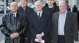 The so-called 'Hooded Men,' back row (left to right): Joe Clarke and Brian Turley, with, in front (left to right), Kevin Hannaway, Liam Shannon and Jim Auld