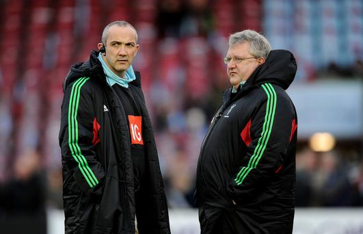 Harlequins head coach John Kingston (right) and Director of Rugby Conor O'Shea