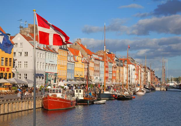Copenhagen (Nyhavn district) on a sunny summer day