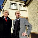 Martin Donlon and Shane Ross pictured outside the eoon to be closed Garda station in Stepaside Co. Dublin. Picture; GERRY MOONEY. 2/2/13