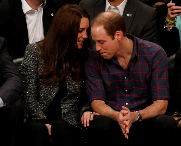 Prince William and Kate Middleton attend the match between New Jersey Nets and Cleveland Cavaliers at Barclays Center, Brooklyn, New York. Jonathan Brady/PA Wire