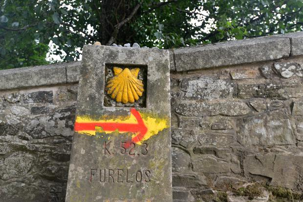 Waymarker on the Camino de Santiago