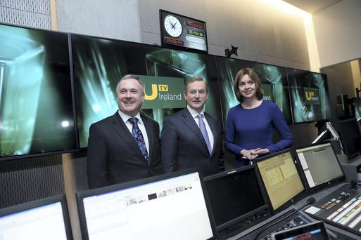Pictured at the official opening of UTV Ireland's brand new HD studios and headquarters, at Macken House, Dublin are John McCann, Group Chief Executive UTV Media plc with An Taoiseach Enda Kenny and Roisin Brennan, Chairperson UTV Ireland. Picture Jason Clarke Photography.