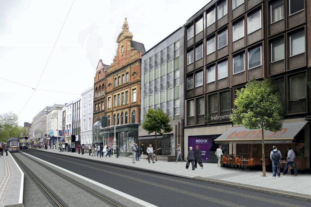An artist's impression of the Luas Cross City northbound stop on Dawson Street in Dublin. Photo: RPA
