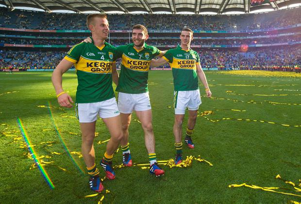 Fionn Fitzgerald, Killian Young and Shane Enright take it all in after Kerry's victory in the All-Ireland final