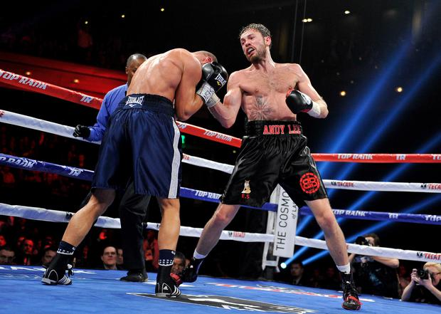 Andy Lee (R) throws a right at Matt Korobov during their fight for a vacant WBO middleweight title at The Chelsea at The Cosmopolitan of Las Vegas on December 13, 2014 in Las Vegas, Nevada. Lee won by a TKO in the sixth round. (Photo by David Becker/Getty Images)