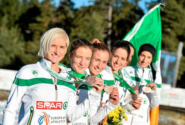 The Ireland women's team (left to right), Ann-Marie McGlynn, Fionnuala Britton, Siobhan O'Doherty, Sara Treacy, Michelle Finn and Laura Crowe, after winning bronze in the team event at the European Cross-Country Championships in Bulgaria. Photo: Ramsey Cardy / SPORTSFILE