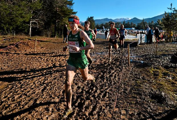 Ireland pair Brendan ONeill (left) and Paul Pollock in action during the men's race at the European Cross-Country Championships in Bulgaria. Photo: Ramsey Cardy / SPORTSFILE