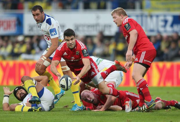 Munster scrum-half Conor Murray distributes the ball during his side's European Rugby Champions Cup clash with Clermont at the Stade Marcel-Michelin. Photo: David Rogers/Getty Images