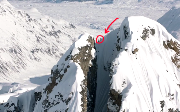 Cody Townsend preparing to descend through 'The Crack' in Alaska's Tordillos Mountains. The ride won him 'Best Ski Line of 2014' at the Powder Awards.
