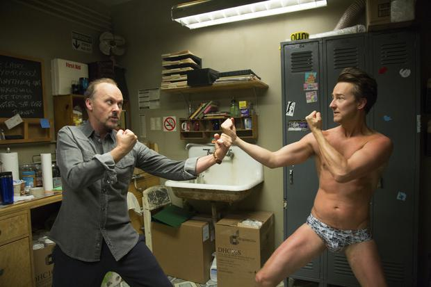 Michael Keaton and Edward Norton in Birdman which has been nominated for 13 Critics Choice Awards
