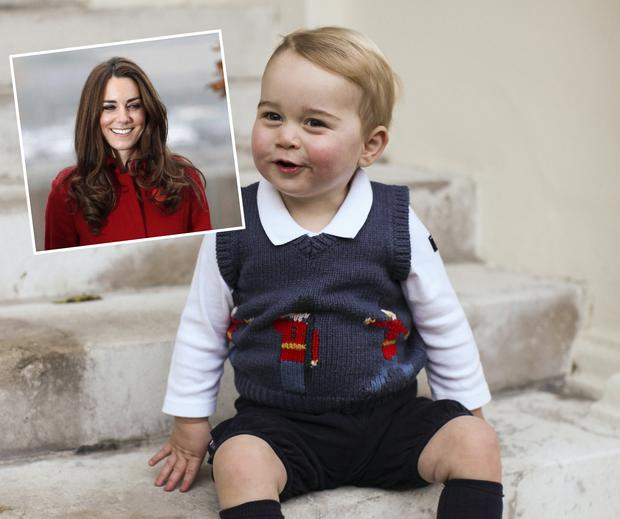 Prince George in a Christmas jumper sits for his official Christmas picture in a courtyard at Kensington Palace