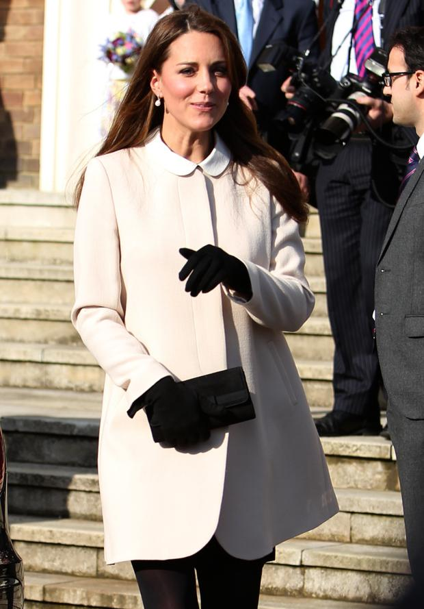 Kate Middleton wearing a chic winter coat