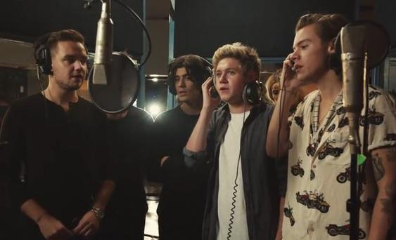 One Direction recording for Band Aid 30