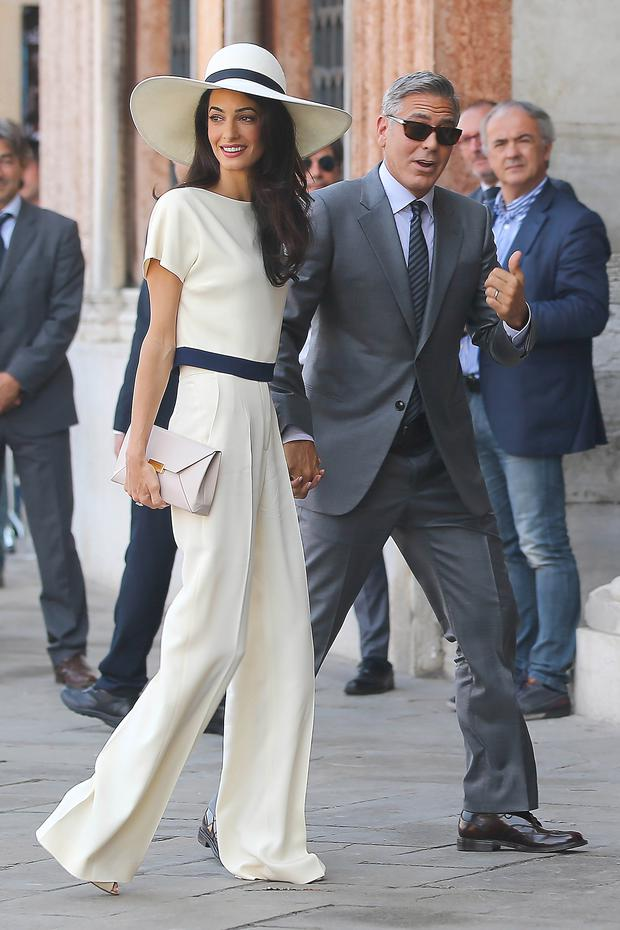 George Clooney and Amal Allamudin at their Venice civil ceremony