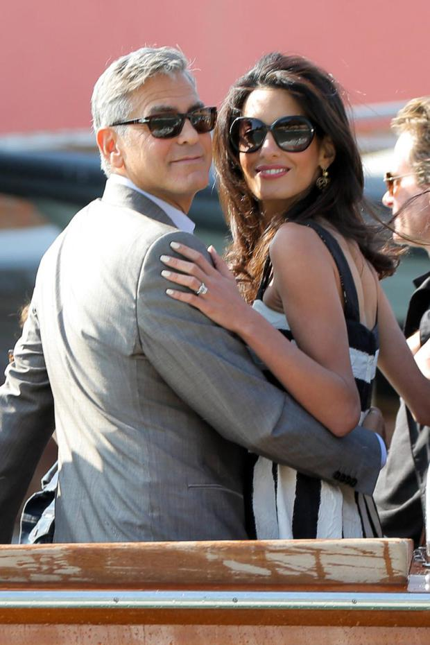 George Clooney and Amal Alamuddin before their Venice wedding