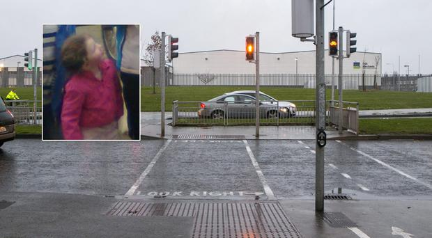 Jennifer Casey (inset) and the crossing in Darndale where she was struck. Photo: Kyran O'Brien