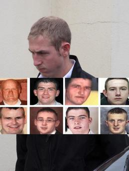 Shaun Kelly, who killed a pensioner and seven of his best friends in the worst car crash in the history of the State. Inset are crash victims (clockwise from top left) : Hugh Friel, Eamonn McDaid, James McEleney, Mark McLaughlin, Paul Doherty, PJ McLaughlin, Ciaran Sweeney and Damien McLaughlin. The DPP is set to appeal Shaun Kelly's sentence.