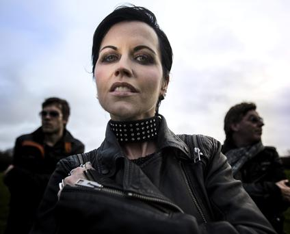 Dolores O'Riordan with her new bandmates, DJ Ole (left) and Andy Rourke (right). Photo: David Conachy