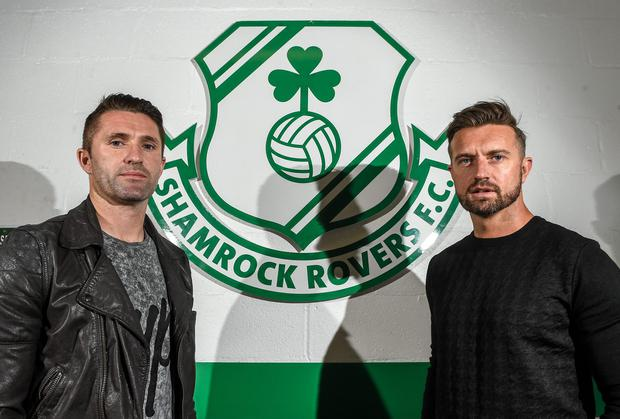LA Galaxy striker Robbie Keane (left) and Stephen McPhail of Shamrock Rovers at Tallaght for the announcement of a friendly between the two clubs in February. Photo: Paul Mohan / SPORTSFILE