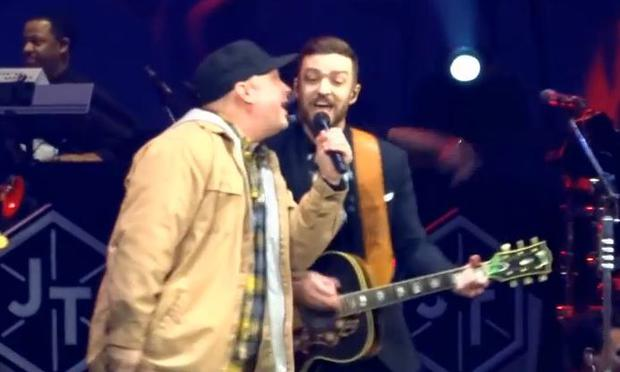Garth Brooks appeared on stage with Justin Timberlake to sing his hit 'Friends in Low Places' at a gig in Nashville, Tennessee