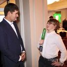Padraig Harrington interviewed by his son Paddy at the Irish Independent Sportstar of the Year awards