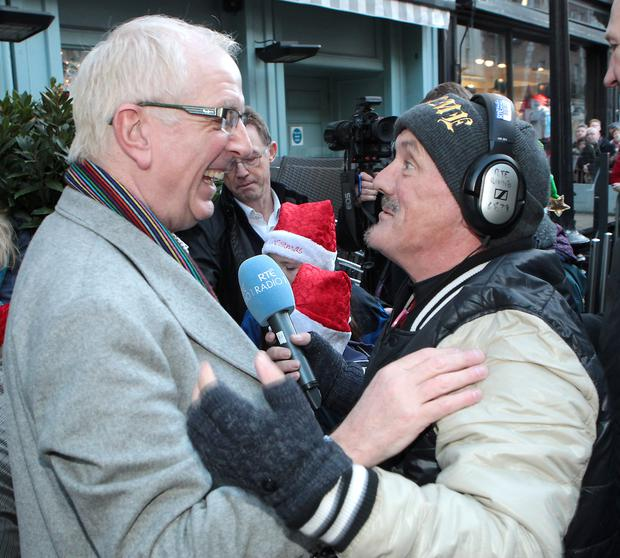 Rory Cowan of Mrs Browns Boys with Brendan O Carroll as they joined in the fun at the annual Rte Radio 1's Joe Duffy Show Christmas Eve Broadcast from Grafton Street Dublin Pic:Brian McEvoy No repro fee for one use