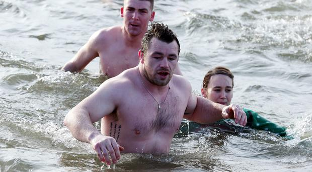 Cian Healy during a Charity Christmas Morning Swim in aid of The Childrens Medical Research Foundation,Our Lady's Children's Hospital Crumlin at The Bull Wall, Clontarf last year