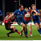 Jack Conan, Leinster, is tackled by John Murphy, Munster. Guinness PRO12, Round 11, Munster v Leinster. Thomond Park, Limerick. Picture credit: Stephen McCarthy / SPORTSFILE