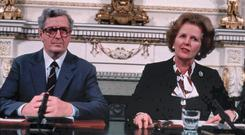 Margaret Thatcher and Garret FitzGerald sign the Anglo Irish agreement in 1985.
