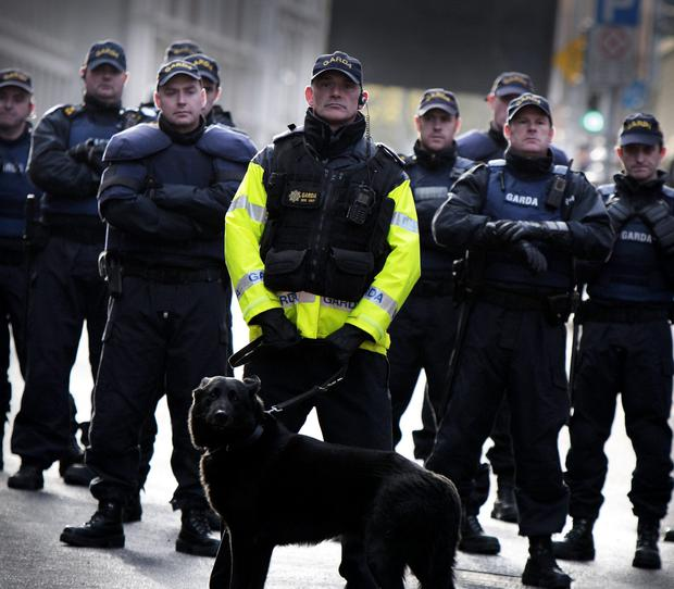Members of the Garda public Order Unit on duty on Kildare street during the water charge protest. Photo: Tom Burke