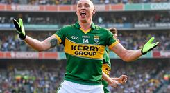 21 September 2014; Kieran Donaghy, Kerry, celebrates after scoring his side's second goal. GAA Football All Ireland Senior Championship Final, Kerry v Donegal. Croke Park, Dublin. Picture credit: Pat Murphy / SPORTSFILE