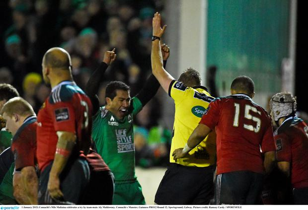 Connacht's Mils Muliaina celebrates a try by team-mate Aly Muldowney