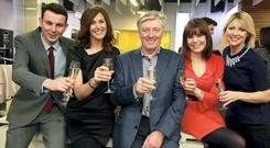 Chris Donoghue (left), Alison Comyn, Pat Kenny, Sinead O'Donnell and Claire Brock at the launch of UTV Ireland at the channel's headquarters and HD studios in Dublin's Docklands, on New Year's Day. Photo: Arthur Carron